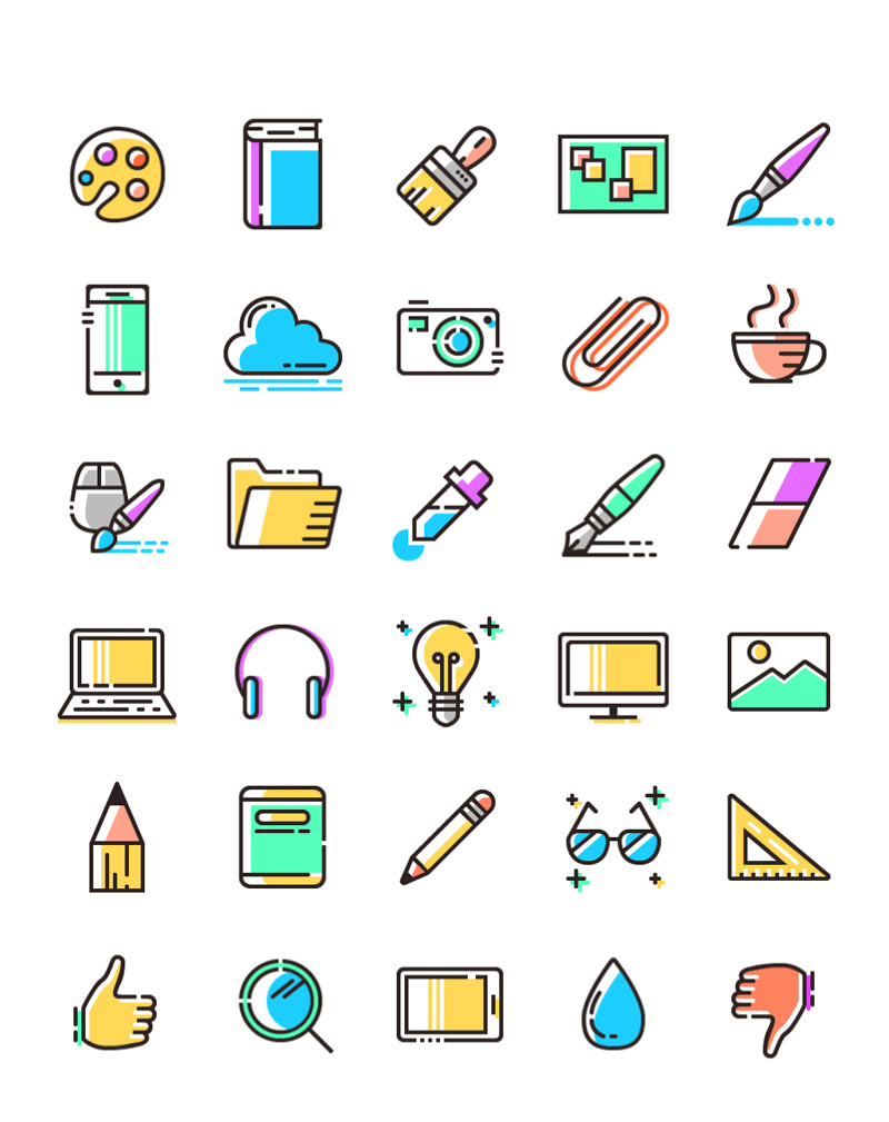SVG, PNG Colored Line Icons