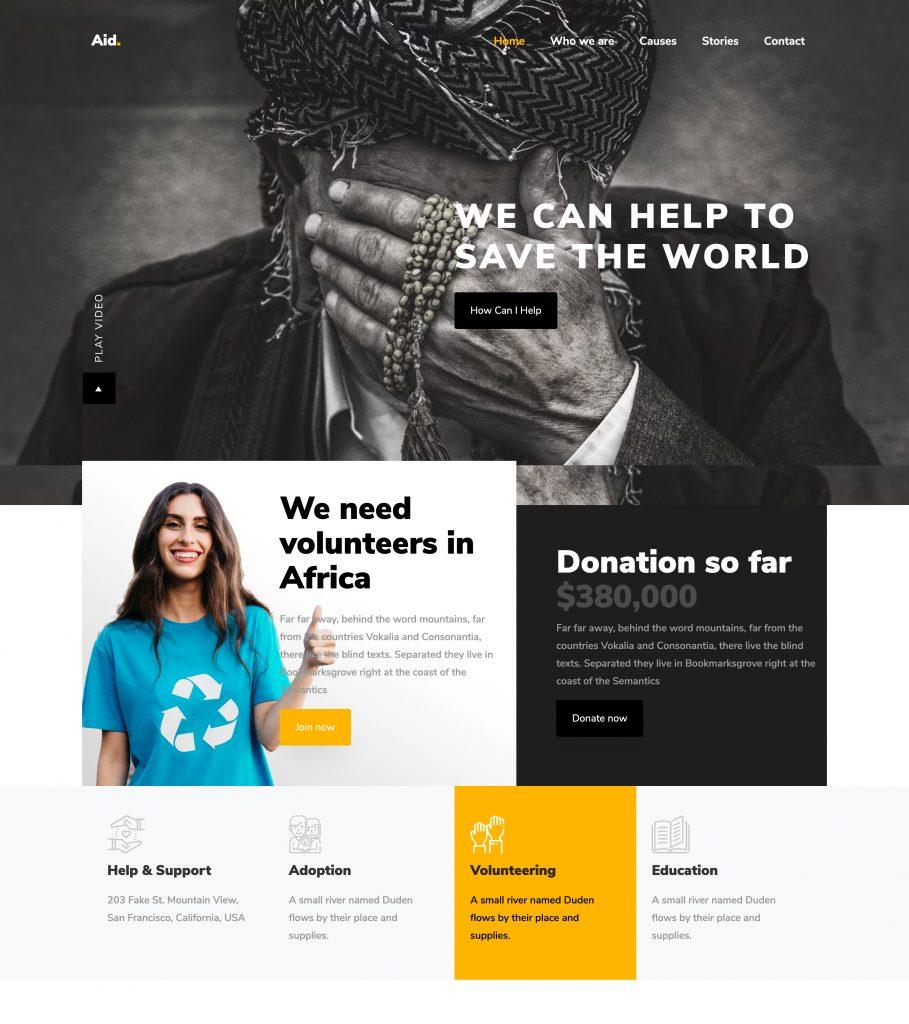 Aid Non-Profit Bootstrap Template
