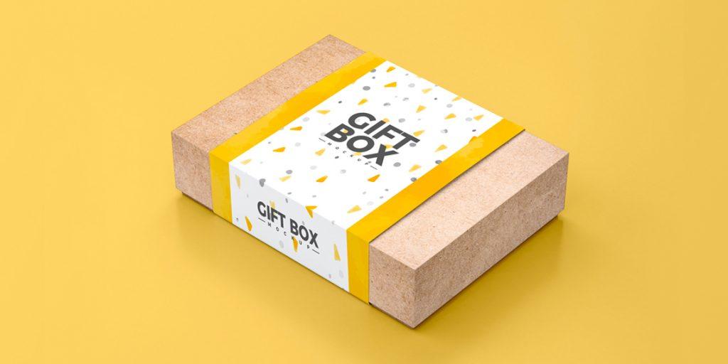 Craft Paper Gift Box Free Mockup PSD
