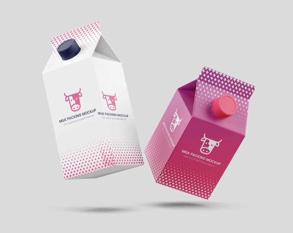 Flying Milk Carton Packing Mockup Free