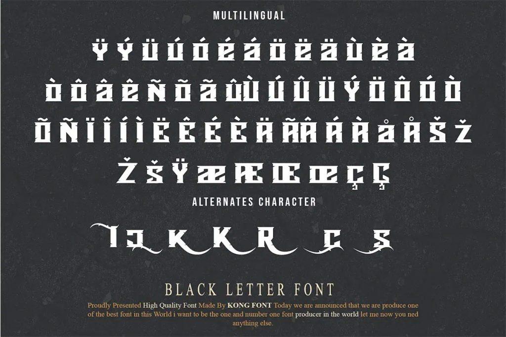 Agnostic Display Black Letter Font Multilingual