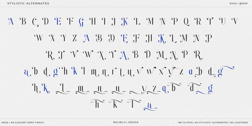 Kage Serif Font Alternates