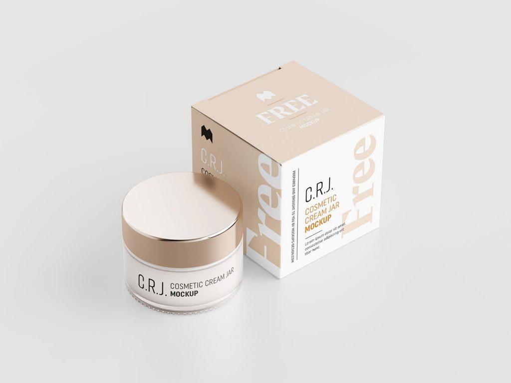 Cosmetic Box with Jar Free Mockup