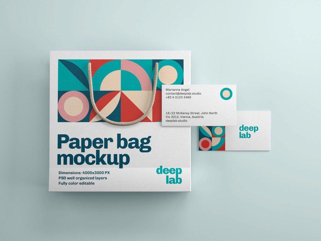 Paper Bag & Business Card Branding Free Mockup