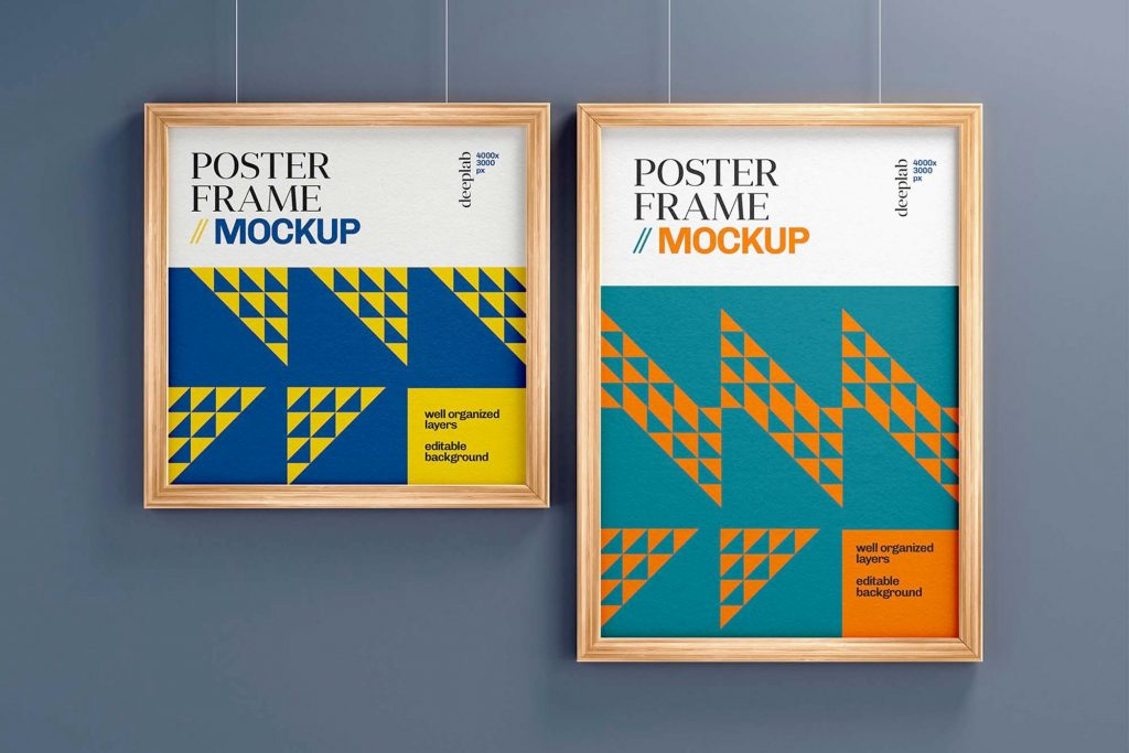 Free Realistic Poster With Wood Frame Set Mockup