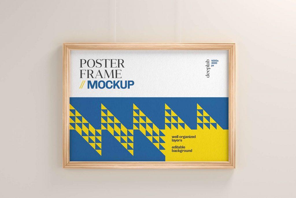 Free Realistic Poster With Wood Frame Set Mockup Landscape