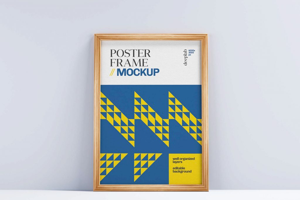 Free Realistic Poster With Wood Frame Set Mockup Portrait